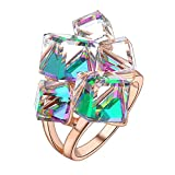 dnswez Rose Gold Clear Change Color Cubic Crystals Cluster Statement Cocktail Rings for Women(6)