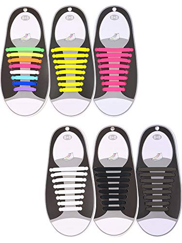 - Hestya 6 Pairs No Tie Shoelaces for Kids and Adults, Waterproof Silicone Flat Elastic Athletic Sport Shoe Laces for Sneakers Board Shoes (Multicolor, Black, White, Brown, Yellow, Pink)