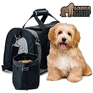 Gorilla Grip Original Pet Travel Carrier Bag for Dogs or Cats, Free Bowl, Durable, Locking Safety Zippers, Airline Approved, Up to 15lbs, Sherpa Insert, Dog, Airplane, Train, and Car Travel 27