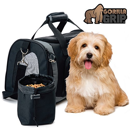 (Gorilla Grip Original Pet Travel Carrier Bag for Dogs or Cats, Free Bowl, Durable, Locking Safety Zippers, Airline Approved, Up to 15lbs, Sherpa Insert, Dog, Airplane, Train, and Car)