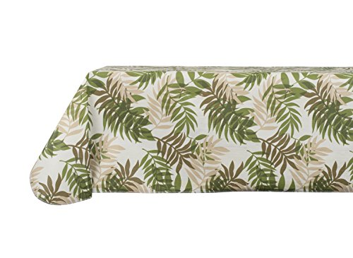 Yourtablecloth Printed Vinyl Tablecloth with Flannel Backing for the Home, Picnics, Events, Indoor and Outdoor Dining (Tropical Fern, 60X104 Rectangle / (Fern Printed)