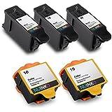 NUINKO 5 Pack Compatible Kodak 10 Ink Cartridges Black and Color for Kodak ESP 3250 ESP 5250 ESP 7250 ESP 3 ESP 5210 HERO 7.1 HERO 9.1 EasyShare 5300 Inkjet Printers