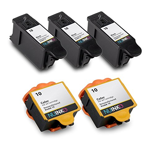 NUINKO 5 Pack Compatible Kodak 10 Ink Cartridges Black and Color for Kodak  ESP 3250 ESP 5250 ESP 7250 ESP 3 ESP 5210 HERO 7 1 HERO 9 1 EasyShare 5300
