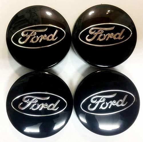 Bzqq 4 pcs 54mm Wheel Center Center caps Wheel hub Center Cover Apply to for Ford Focus Fiesta ST Mondeo C-Max Fusion (Black) (Wheel 52mm Cap Center)