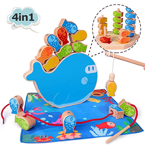 Rolimate Magnetic Fishing Game Montessori Sorting Stacking Wooden Toys Fine Motor Skill Toy Best Gifts for 3 4 5+ Years…