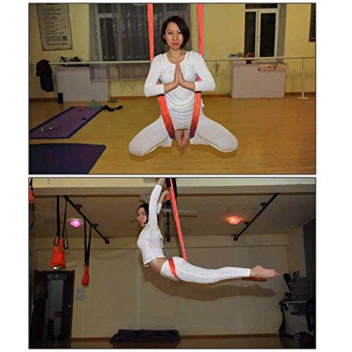 Pellor 5M Yoga Air Flying Inversion Hammock Aerial Yoga Hammock Swing Belt (Orange)