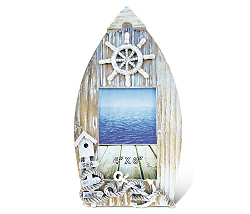 """Puzzled Wooden """"Baja Beach"""" Boat Picture Frame, 4 x 6 Inch Sculptural Wood Photo Holder Intricate & Meticulous Detailing Art Handcrafted Tabletop Accent Accessory Coastal Nautical Themed Home Décor"""