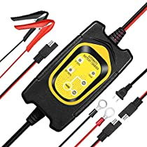 6V / 12V 1.5A Fully Automatic Battery Charger and Maintainer for Cars Motorcycle Lawn Mower, SLA AGM Gel Cell Wet Lead Acid Batteries, Maximize The Battery Life and Performance