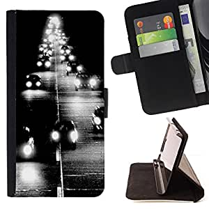 "For Sony Xperia Style T3,S-type Faro Camino Negro negro impresiones"" - Dibujo PU billetera de cuero Funda Case Caso de la piel de la bolsa protectora"