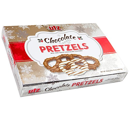 Chocolate Pretzels Milk & White Chocolate Flavored | Net 30 Oz Holiday Themed Gift Box Perfect Gift Basket Idea For Dad Mom Sister Brother Kids Women Men Adult Office Coworkers Stocking Stuffer (UTZ)
