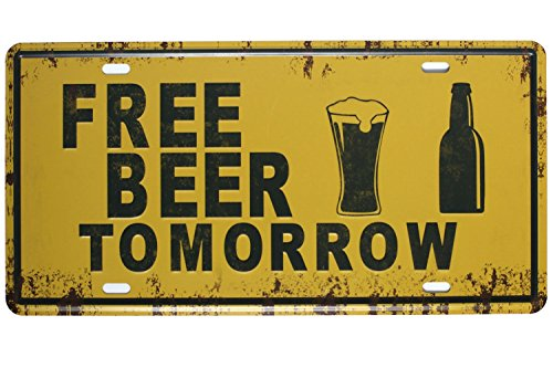 Sumik Free Beer Tomorrow, Metal Tin Sign, Vintage Art Poster Plaque Kitchen Bar Pub Home Wall ()