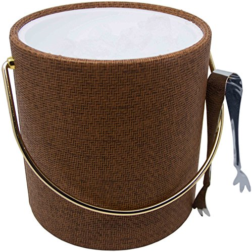 Hand Made In USA Beachwood Wicker Double Walled 3-Quart Insulated Ice Bucket With Bonus Ice Tongs