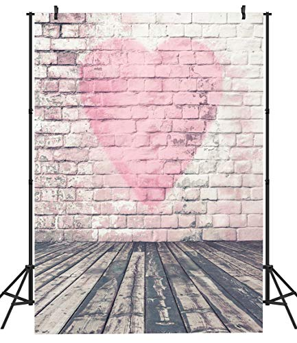 DULUDA 5X7FT Valentine's Day Brick Wall Wood Floor Photograghy Backdrop Customized Photo Background CP Studio Prop VL04A