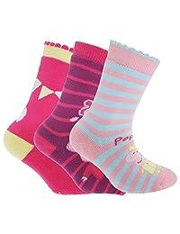 Peppa Pig Official Childrens/Kids Slipper Socks (Pack Of 3)