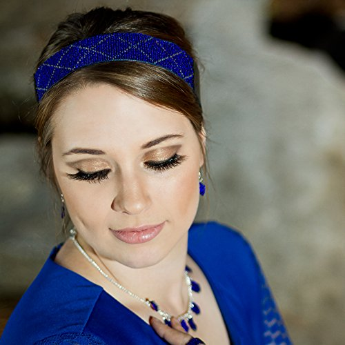 Wide Stretch Tribal Headband in Dark Blue Cobalt by Megan's Beaded Designs