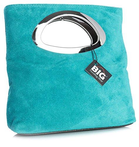 Superior para Cuero Bolso Gamuzado BHBS 15x25x7 Noche FZ710 cm Metal Turquoise en de LxAxP en con Dama Asa qngStvYg