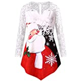 WOCACHI Final Clear Out Womens Christmas Lace Blouses Pullover Santa Claus Snowflake Tunic Tops Winter Bottoming Shirts Xmas Warm Long Sleeves Sweaters (Red, Large)