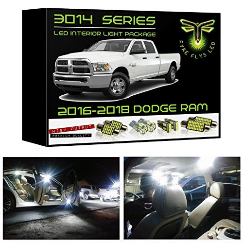 Fyre Flys 15 Piece White LED Interior Lights for 2016-2018 Dodge Ram Super Bright 6000K 3014 Series SMD Package Kit and Install Tool ()
