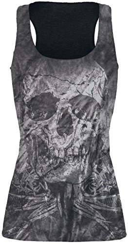 Rock Rebel by EMP Snake Skull Top Top Mujer Negro Negro