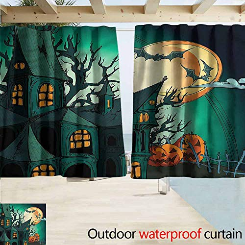 MaryMunger Blackout Curtain Halloween Halloween Haunted Castle Rod Pocket Energy Efficient Thermal Insulated W72x72L -