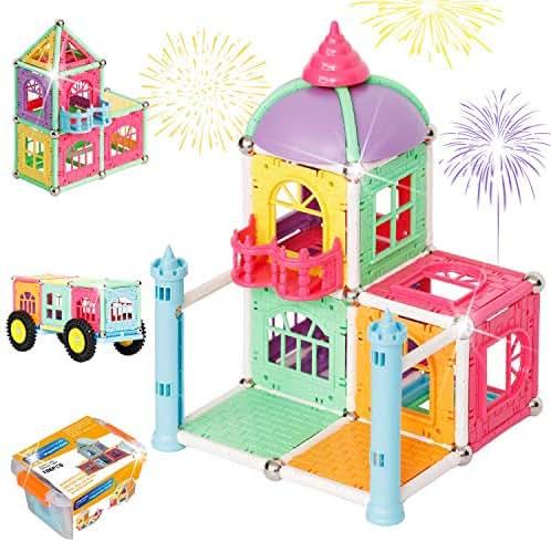 Brightown 106 Piece Magnetic Blocks Building Set, Magnetic Sticks Construction Kit, STEM Castle Building Block Preschool Educational Toys for Children Over 3 Years Old