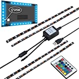 "Sinkepoze USB Powered LED Strip Light TV Background Lighting RGB Color Changed with Remote Control for Flat Screen HDTV LCD (4X15.7"", Waterproof)"