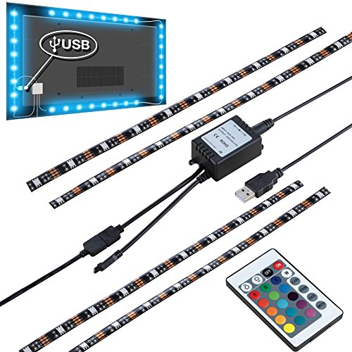 Sinkepoze USB Powered LED Strip Light TV Background Lighting RGB Color Changed with Remote Control for Flat Screen HDTV LCD (4X15.7