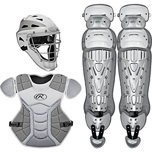 Rawlings Sporting Goods VCSY-W/SIL Catcher Set Velo Series Protective Gear, White/Silver, Age 12 & Under - Rawlings Catchers Gear Set