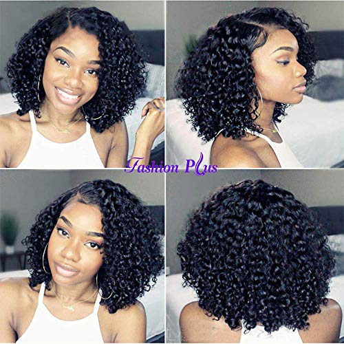 Curly Full Lace Wig Brazilian Short Human Hair Wig With Baby Hair Bleached Knots Full End 150% Density Glueless Full Lace Wigs Human Hair For Black Women Natural Color