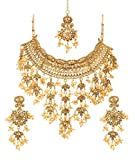 Bindhani Indian Bollywood Bridal Wedding Bahubali Choker Jewelry Necklace Earrings Tikka Set for Women