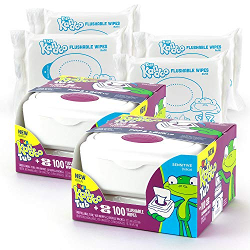 Kandoo Flushable Wipes for Babies and Kids – 100 Count Tub (Pack of 2)