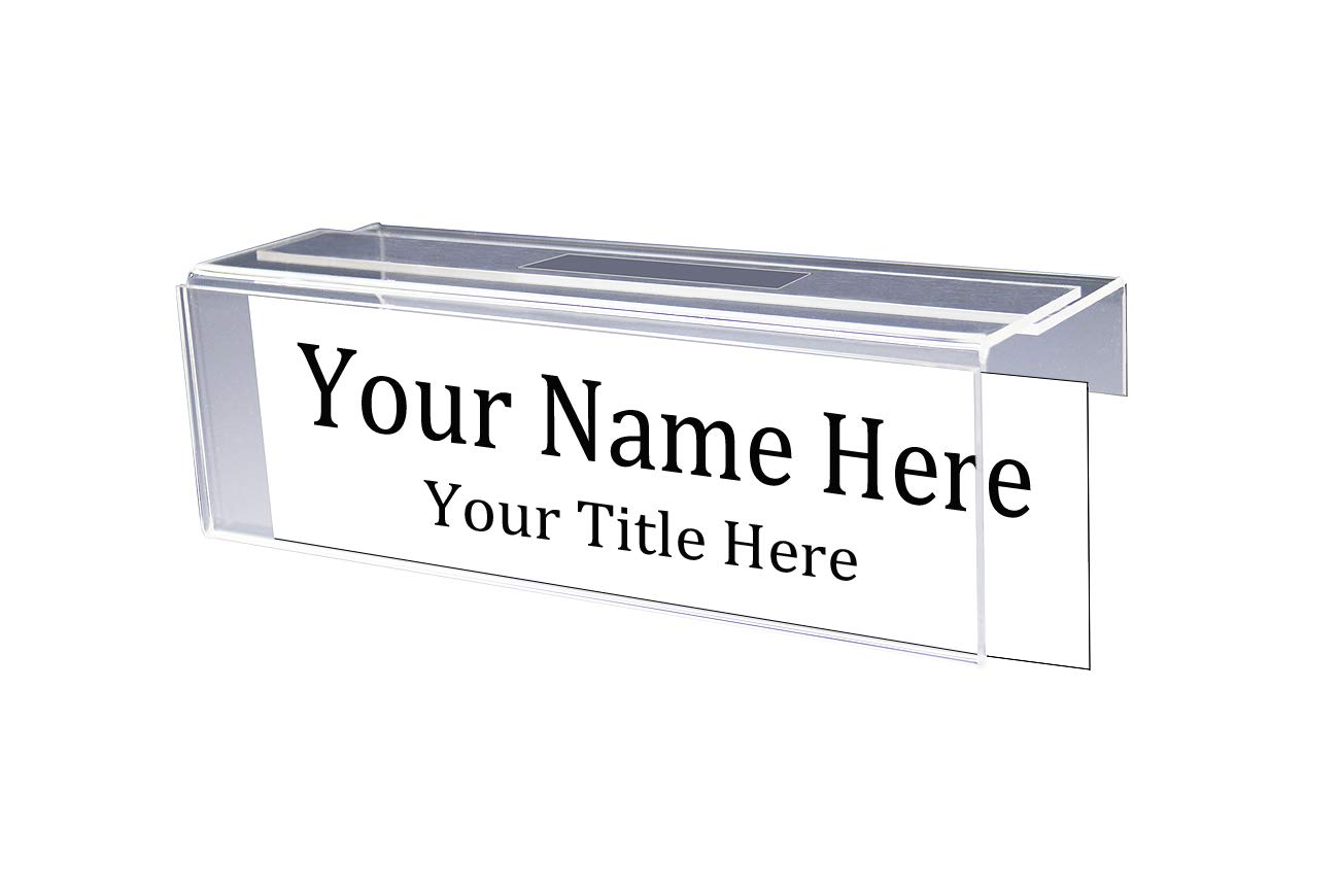 "Adjustable Cubicle Name Plate Holders Single-Sided by Plastic Products Mfg - Expands from 2"" up to 3"" Wide Using Our Clear Removable Magic Tape (15 Pack) - Cubicle Name Plates"