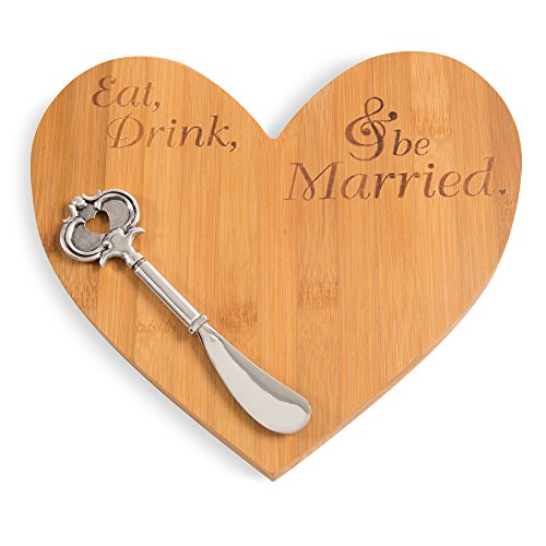Glorious Occasions Eat, Drink & Be Married Heart Shaped Bamboo Cheese Board and Knife Set, Brown ()