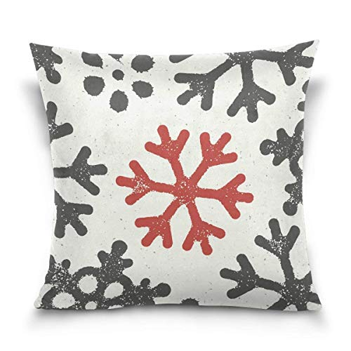 (FJPT Throw Pillow Cover Christmas Wallpaper with Red Grungy Snowflake Cotton Pillowslip for Sofa Bed Stand Size Pillowcase 22x22)