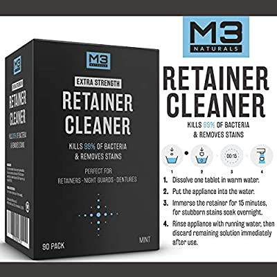 M3 Naturals Retainer and Denture Cleaner Tablets Anti Bacterial Removes Bacteria Stains and Bad Odors from Dentures Invisalign Nightguard Mouth Guard Removable Dental Appliances