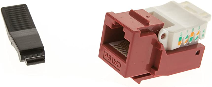 UTP CableWholesale RJ45 Female Cat5e Keystone Jack to 110 Punch Down Connector Red