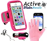 Navitech Active Bundle Including Pink Running / Jogging Sports Armband & Pink Touchscreen Gloves For The Sony Xperia E3 / LG G3 S / Nexus 5