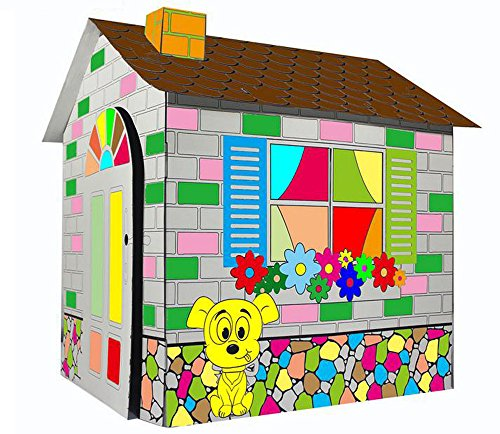 Littlefun Kid's Folding Cardboard Playhouse Cartoon Cottage Children Premium Paper Construction Fluorescent Sticker (Cartoon House)