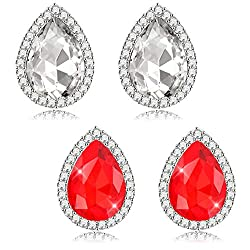 2-Pairs Crystal Bridal Teardrop Stud Earrings