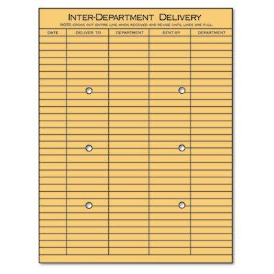 Light Brown Kraft String (Light Brown Kraft String & Button Interoffice Envelope, 10 x 13, 100/Box, Sold as 100 Each)
