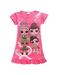 Wazonton LOL Surprise Girl Dress Doll Printed Short Sleeve T-Shirt Dress for Girls