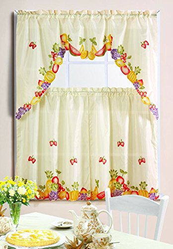Mixed Fruit Printed Kitchen Curtain Swag Set Part 57