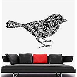 Quote Wall Decal Sticker Nursery Vinyl Saying Lettering Wall Art Inspirational Wall Decor Cute Bird of Leaf and Flower Pattern Ornament Mural 22 x 38 inches