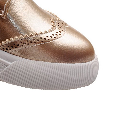 AllhqFashion Damen Schnüren Niedriger Absatz PU Rein Spitz Zehe Pumps Schuhe Golden