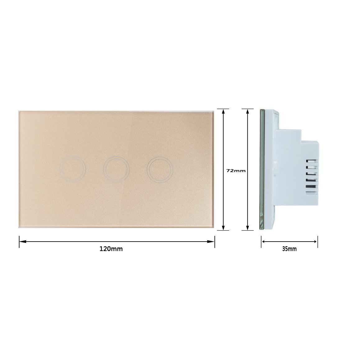 uxcell Touch Wall Light Switch, Luxury Crystal Glass Panel, AC 110-240V 1 Way 3 Gang Smart Touch Switch Gold US by uxcell (Image #4)
