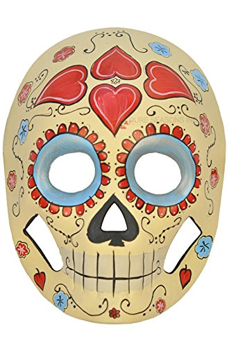 Yellow and Skyblue Mexican Sugar Skull Hand-painted Paper Mache Mask (Mexican Fancy Dress Costume)