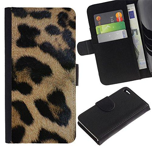 A-type (Leopard Golden Brown Fur Pattern Black) Colorful Impression Holster Cuir Wallet Cover Housse Peau Cas Case Coque Pour Apple Iphone 4 / 4S