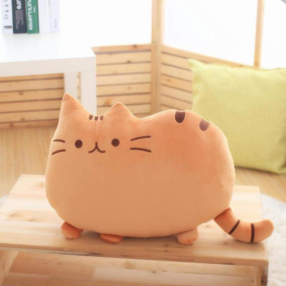 LIVIQILY Soft Plush Stuffed Animal Doll Anime Toy Cute cat Floor Pillow (Brown)