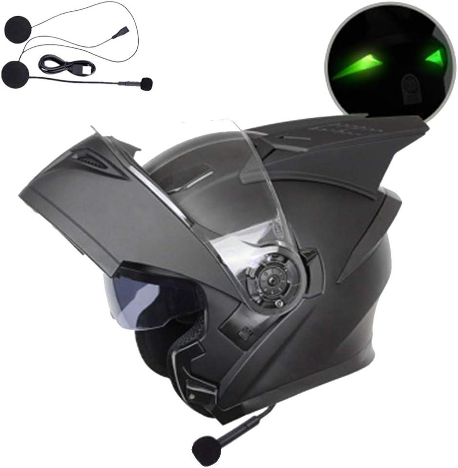 KuaiKeSport Casque Moto Bluetooth,Casque Moto ECE Homologu/é Homme Femme,Casque Moto Modulable pour Scooter Chopper,Casque Trotinette Adulte avec des Lunettes de Protection Doubles//Lumi/ères LED