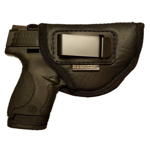 Leather Texture Clip (IWB Gun Holster by Houston - ECO LEATHER Concealed Carry Soft Material | Fits Glock 26/27/33, Shield, XDS, Taurus 709, Taurus Pro C, Walther P22, Beretta Nano, SCCY SKY.Ruger LC9 (RIGHT HAND))